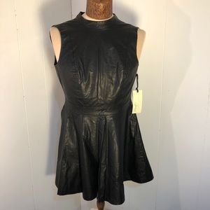 BRANDNEW Womens Sleeveless Black FauxLeather Dress